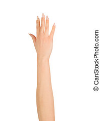 Beauty woman hand over white