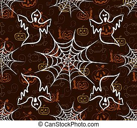 halloween seamless pattern with webs and scarecrow