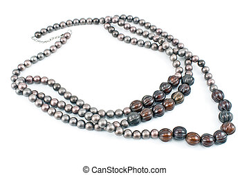 Necklace with gray beads isolated on white