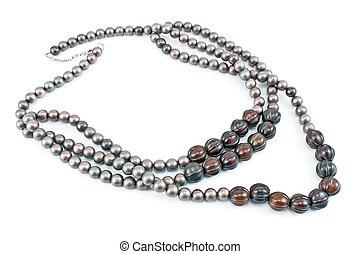 collar, con, gris, Cuentas, aislado, en, white, ,