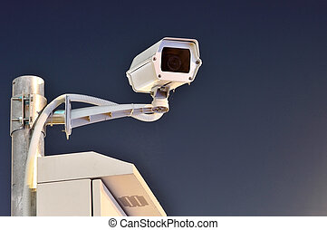 CCTV cameras are working at night On a blue background