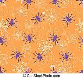 spider on webs seamless pattern on orange