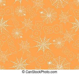 spider on webs seamless pattern on orange