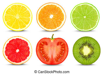 fruit slices isolated on white