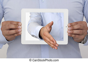 3D Screen - outstretched hand of the display