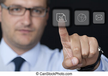 Touching the Glass Button in the Office