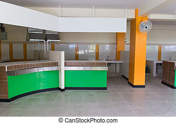 the counter for selling food in the new canteen