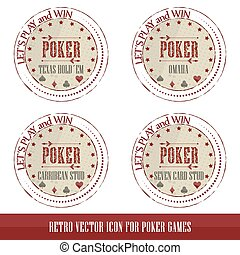 Vintage poker icons for poker games presentation, vector...