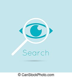 Icon eyes with a magnifying glass Logo Search, analysis,...