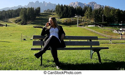 Business woman relaxing - Happy business woman relaxing in...