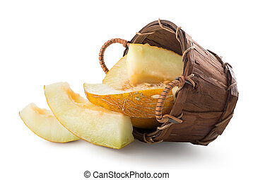 Melon in a basket isolated on a white background