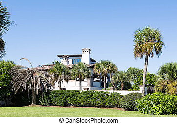 Tropical Stucco and Brick Mansion