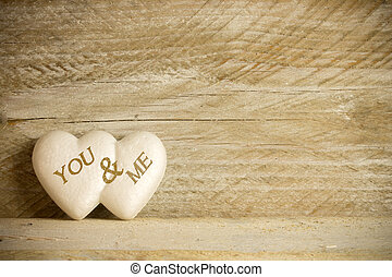 valentines day - white hearts with the text you and me over...
