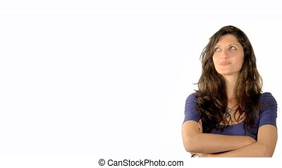 woman daydreaming - beautiful brunette girl daydreaming of a...