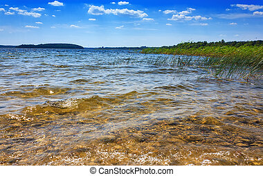 Beautiful lake with clear water in the Braslav Lakes