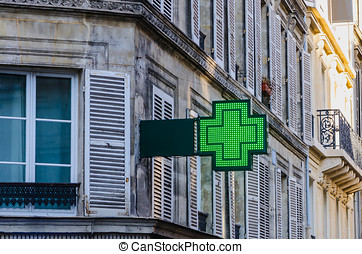 Pharmacy sign in an street of europe Drugstore