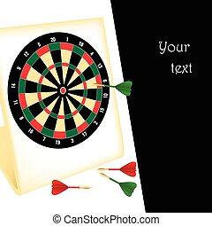 Dart board with darts - Vector illustration of a dartboard...