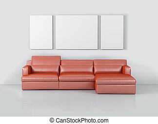 Interior living room with sofa and
