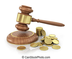 Concept of law Wooden gavel with gold coins