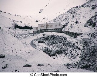 The Refuge on Cotopaxi Volcano in the Ecuadorian Andes - at...