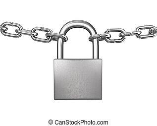 trancadas, Padlock, com, prata, correntes, isolado, ligado,...