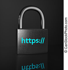 HTTPS padlock isolated on the black background oncept of a...
