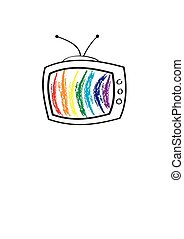 The TV set with rainbow in it for your design