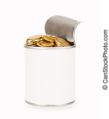 tin with coins on a white background