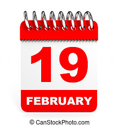 Calendar on white background 19 February 3D illustration