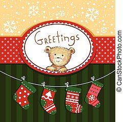 Seasons Greetings - Cute greeting card with Teddy bear and...