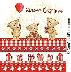 Seasons greetings - Three cute Teddy bears with gifts and...
