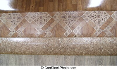 Linoleum rolls in showroom of flooring store