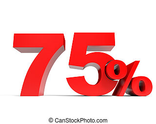 Red seventy five percent off. Discount 75%. 3D illustration.