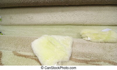 Carpet flooring assortment in building materials shop -...