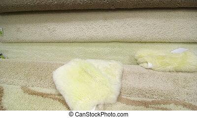 Carpet flooring assortment in building materials shop -...