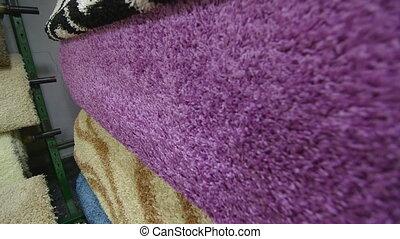 Range of carpet flooring in warehouse