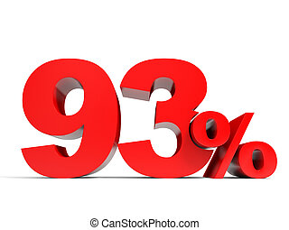Red ninety three percent off. Discount 93%. 3D illustration.