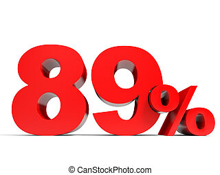 Red eighty nine percent off. Discount 89%. 3D illustration.