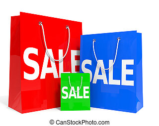Shopping bags. Sale. - Shopping bags on white background....