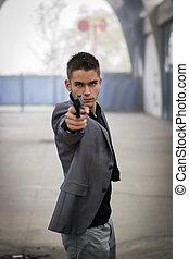 Detetive, ou, mobster, ou, policial, apontar, Um, arma de...