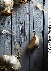 Clove of Garlic - Raw Clove of Garlic on Wood