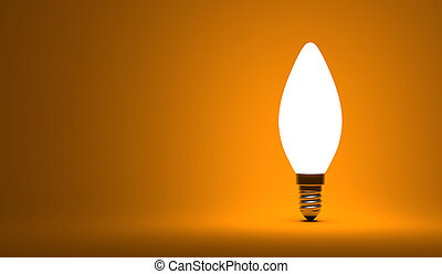 Shining torpedo light bulb on orange background