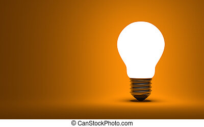 Shining arbitrary light bulb on orange background