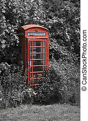 British telephone box - Close upright mono and color pop...