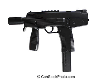 MP-Machinepistol, UZI, russian, rifle, gun, - Isolated on...
