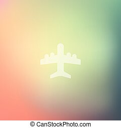 plane icon on blurred background
