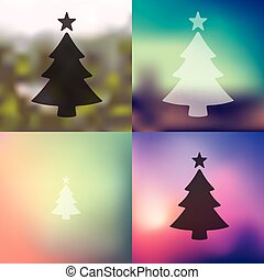 christmas tree icon on blurred background