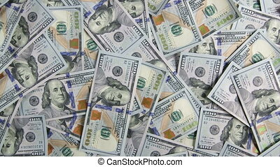 Dolly: $100 american dollar bills background scrolling from...