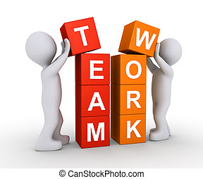 Two people work as team - Two 3d people are forming the word...