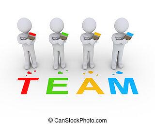 grupo, de, pintores, como, equipo,